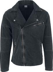 Acid Wash Terry Biker Jacket
