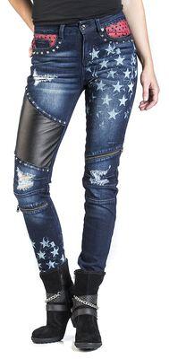 Skarlett - Tmavě modré džíny s potiskem a detaily
