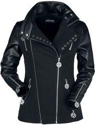 Černá gotická motorkářska bunda s ozdobnými očky