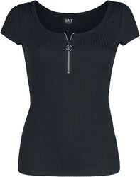 Schwarzes T-Shirt mit Reißverschluss im Ausschnitt