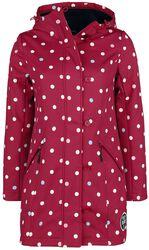 Červená dívčí softshellová bunda s bílými puntíky