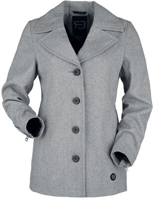 Krátký šedý kabát na knoflíky