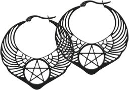 Kruhové náušnice Winged Pentagram