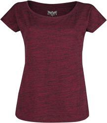 Červené tričko s žíhaným vzhledem