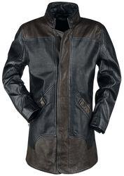 Hnědo/černý kožený kabát se zipem na zádech