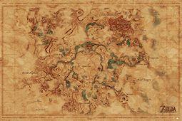 Mapa světa Hyrule - Breath of the Wild