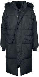 Dámský prošívaný oversized kabát s imitací kožešiny