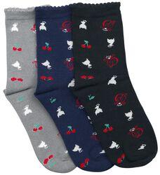 Balení 3 párů ponožek Cherry Logos & Cats