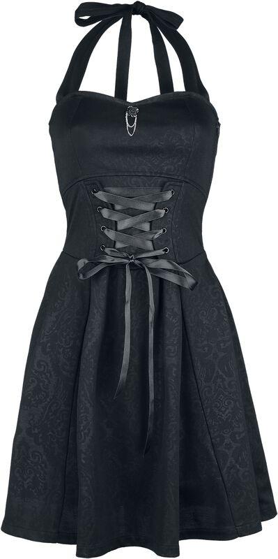 Šaty Gothicana se zavazováním kolem krku a šněrováním