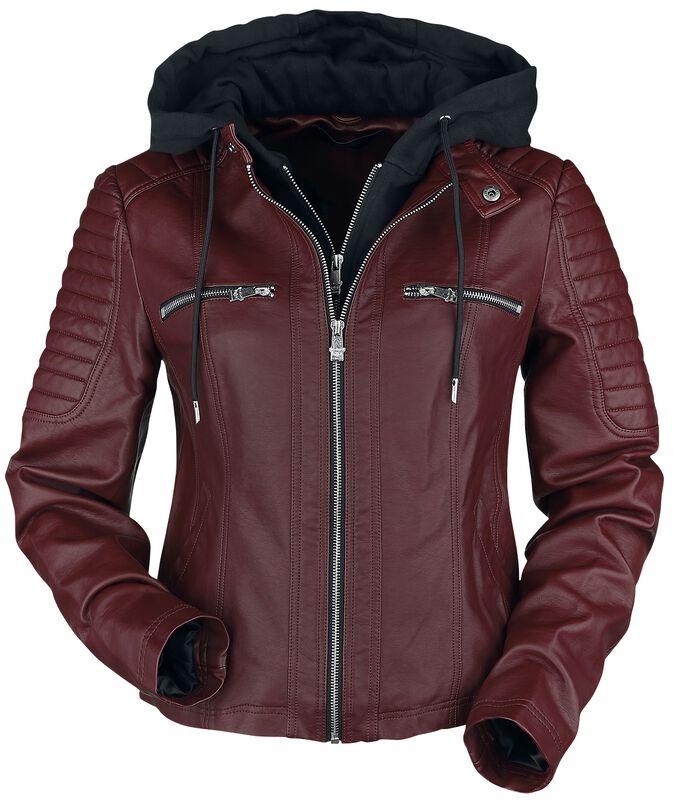 Červená koženková bunda s kapucí