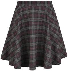 Rozšířená kostkovaná sukně v rockovém stylu