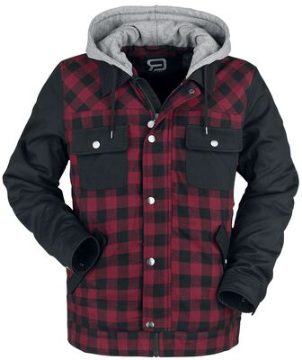 Černě/červená dřevorubecká bunda s černými rukávy