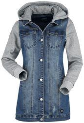 Denimová bunda s teplákovými rukávy a kapucí
