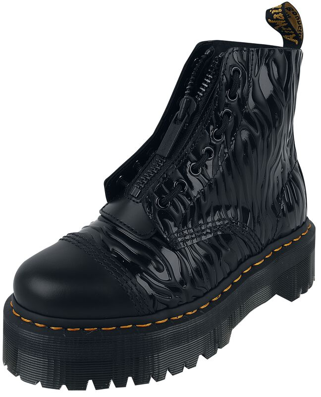 Sinclair Black Smooth and Black Zebra Gloss Emboss Smooth Jungle Boot
