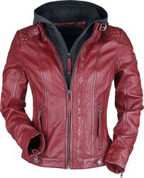 Červená kožená bunda se šedou kapucí a nýty
