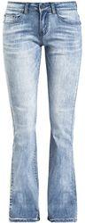 Světle modré džíny Grace s opraným efektem a zahnutými manžetami