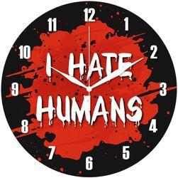 Skleněné nástěnné hodiny I Hate Humans