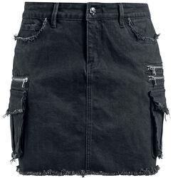 Černá denimová sukně s kapsami Rock Rebel