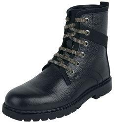 Černé boty na šněrování s kamufláž vzorem