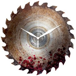 Skleněné nástěnné hodiny Pílový kotouč potřísněný krví