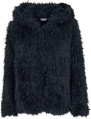 Dámská plyšová bunda s kapucí