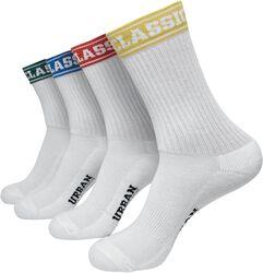Balení 4 párů krátkých sportovních ponožek s barevnými manžetami