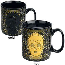 Hrnek C-3PO s potiskem, který se pod vlivem tepla mění