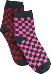 Balení 2 párů kostkovaných ponožek