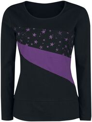 Black Long-Sleeve Top with Star Print and Crew Neckline
