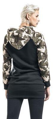 Černé šaty s kapucí s potiskem