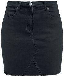 Denimová sukně s roztřepeným lemem