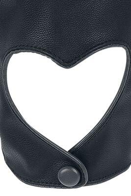 Rukavice s otvory ve tvaru srdíček Black Premium