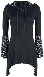 Černý top Gothicana X Anne Stokes s dlouhými rukávy, šněrováním, potiskem a velkou kapucí