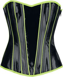 Černý korzet s lakovaným vzhledem s detaily v neónové barvě