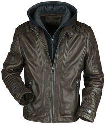 Hnědá kožená bunda s kapucí a motorkářským prošíváním