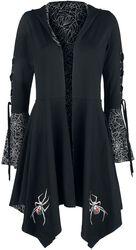 Černý kardigán Gothicana X Anne Stokes s kapucí, šněrováním a rozšířenými rukávy