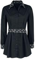 Černá košile s dlouhými rukávy, opaskem a vzorovanými díly