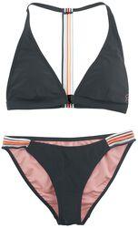 RED X CHIEMSEE - black bikini with colourful stripes