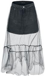 Denimová sukně s tylovou vrstvou