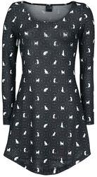 Černe zimní šaty s celoplošným potiskem s bílými kočkami