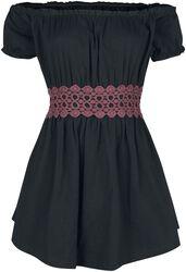 Tričko Gothicana s odhaleným ramenem a krajkou
