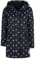 Černá dívčí softshellová bunda s bílými puntíky