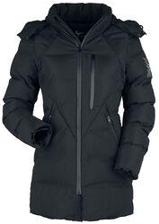 Černá zimní bunda s prošíváním a kapucí