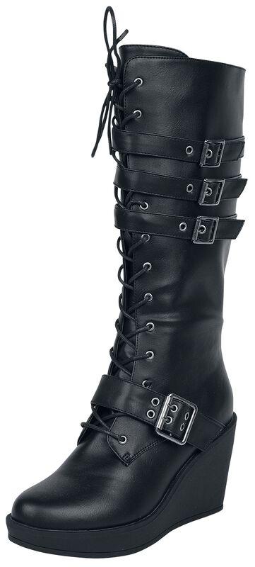 Černé boty na šněrování s podpatkem a přezkami