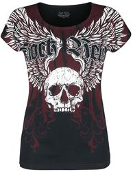 Black/Red T-shirt with Print and Round Neckline