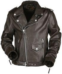 Hnědá motorkářská kožená bunda