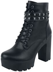 Black Low Boots with Lacing, Straps and Studs
