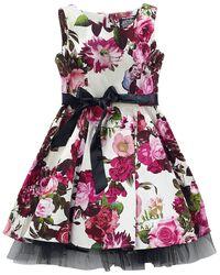 Krémové květované šaty se širokou sukní Audrey 50's