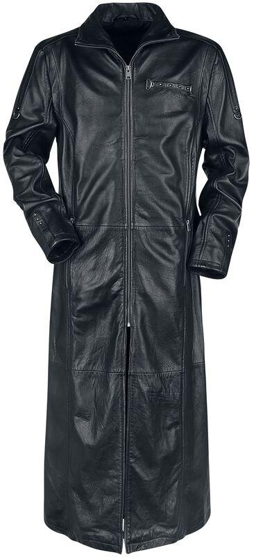 Černý kožený kabát