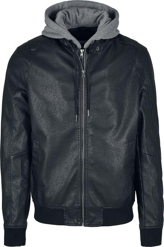Flísová koženková bunda s kapucí